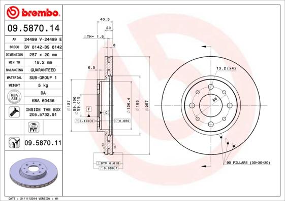 Productafbeelding voor Remschijf voorzijde Brembo premium