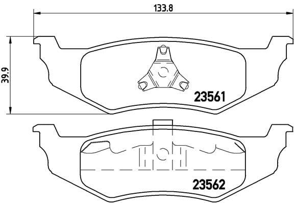 Remblokken achterzijde Brembo premium voor Chrysler Pt Cruiser 2.4