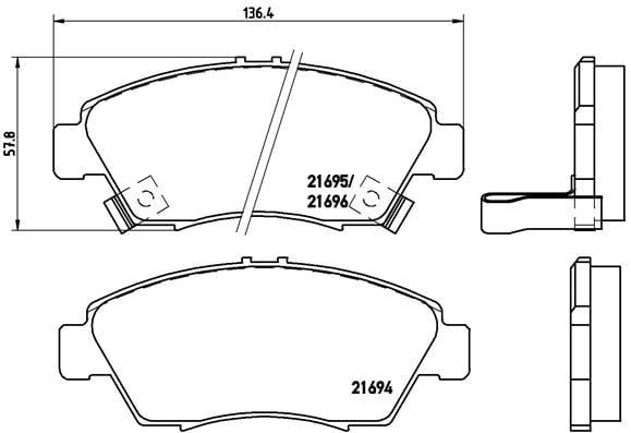 Remblokken voorzijde Brembo premium voor Honda Civic Vi Sedan 1.4