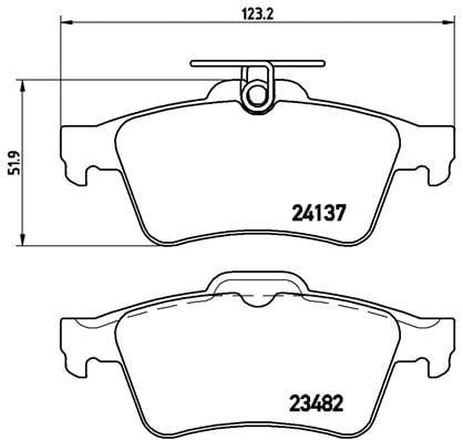 Remblokken achterzijde Brembo premium voor Opel Vectra C 2.0 Dti 16v