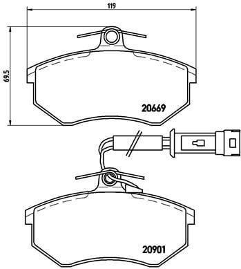 Remblokken voorzijde Brembo premium voor Audi 200 2.1 5t