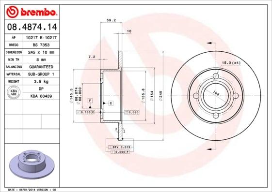 Remschijf achterzijde Brembo premium voor Audi 80 2.8