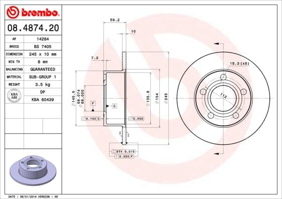 Remschijf achterzijde Brembo premium voor Audi 200 2.1 Turbo