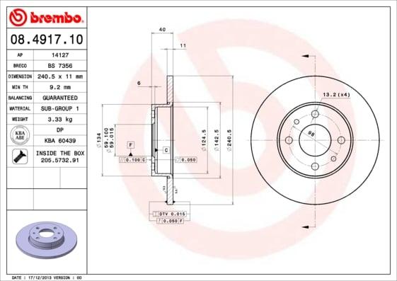 Remschijf achterzijde Brembo premium voor Alfa Romeo 146 1.4 I.e. 16v T.s. (930.b3a)