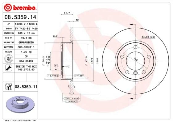 Remschijf voorzijde Brembo premium voor Bmw 3 (e36) 318 Tds