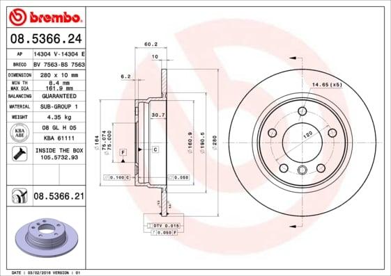 Remschijf achterzijde Brembo premium voor Bmw 3 (e36) 318 Tds