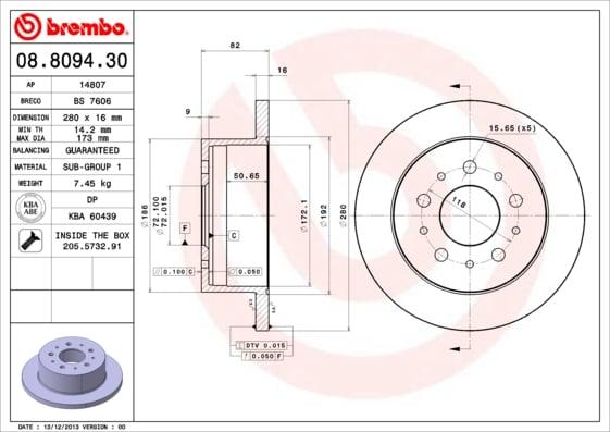 Remschijf achterzijde Brembo premium voor Citroen Jumper Bestelwagen 2.0 Bluehdi 110
