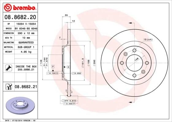 Remschijf achterzijde Brembo premium voor Citroen C5 III 2.0 Hdi 150 / Bluehdi 150