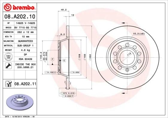 Remschijf achterzijde Brembo premium voor Audi A3 2.0 Tdi Quattro