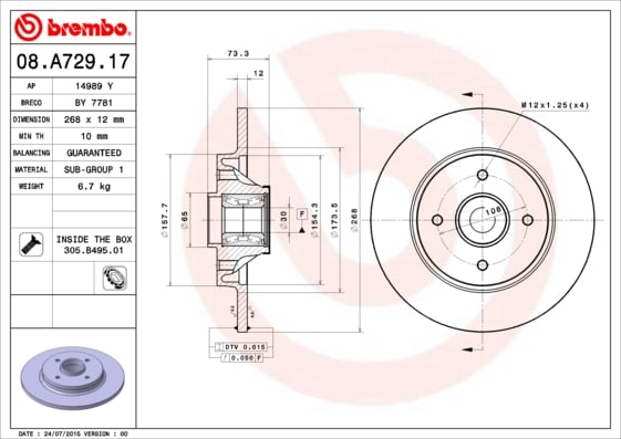 Remschijf achterzijde Brembo premium voor Citroen Berlingo 1.6 Hdi 75 16v