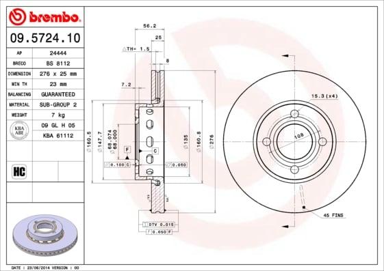 Remschijf voorzijde Brembo premium voor Audi 80 2.8
