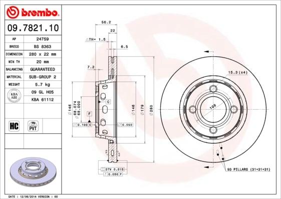 Remschijf voorzijde Brembo premium voor Audi 80 2.0 E 16v Quattro