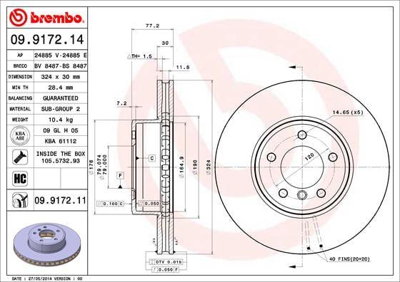 Remschijf voorzijde Brembo premium voor Bmw 6 Cabriolet (e64) 630 I