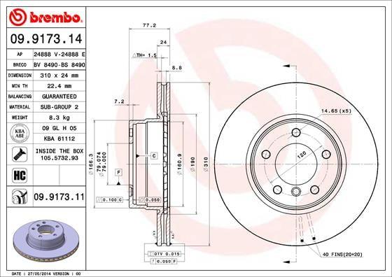 Remschijf voorzijde Brembo premium voor Bmw 5 (e60) 520 I