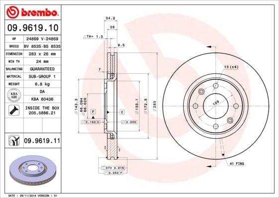 Remschijf voorzijde Brembo premium voor Citroen Berlingo 1.6 Hdi 75 16v