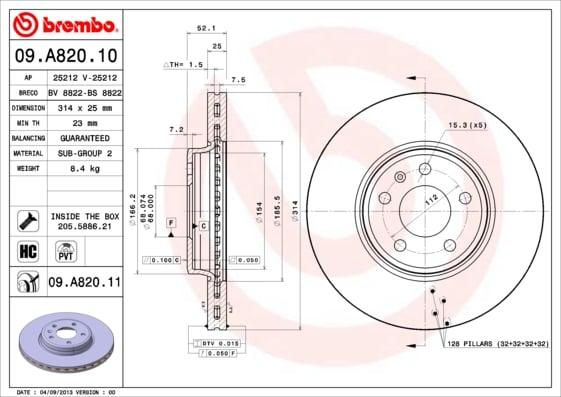 Remschijf voorzijde Brembo premium voor Audi A5 Cabriolet 3.0 Tfsi Quattro