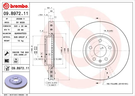 Remschijf voorzijde Brembo premium voor Audi A6 Avant 2.8 Fsi